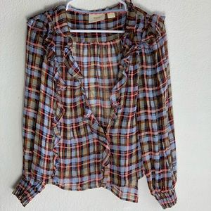 Anthropologie | Maeve Plaid Blouse